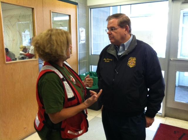 Receiving updates at Pleasantville High School RedCross shelter.  October 31, 2012